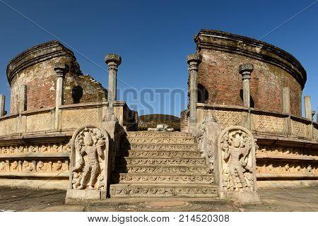 Sri Lanka Polonnaruwa ruin was the second capital of Sri Lanka after the destruction of Polonnaruwa. The photograph is presenting Vatadage (Round House)