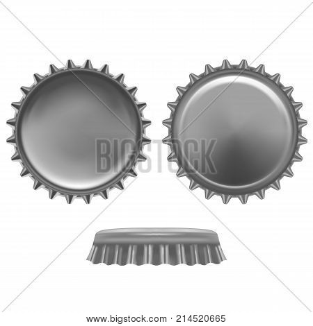 Realistic Detailed Metal Cap from a Beer Bottle Alcohol Drink Front and Back View Isolated on White Background. Vector illustration