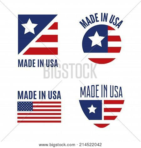 Vector set Made in the USA logo, labels and badges on white background