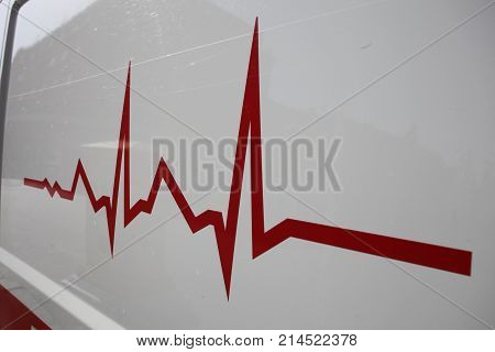 Save Download Preview red electrocardiogram line - sign, shape, pulse.