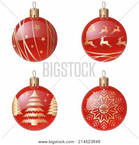 Christmas tree decorations isolated on white background vector illustration set. Winter Holidays and Celebrations concept. Balls red realistic balls, with a golden silhouette of a Christmas tree, deer, snowflake, abstract lines.