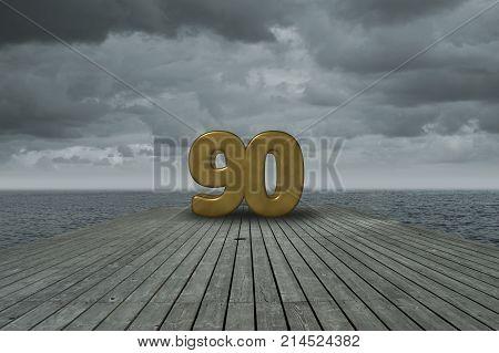 number ninety on wooden floor at ocean