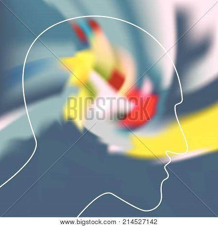 Schizophrenia Concept Symbol Of Depresion Dementia. Vector Ilustration.