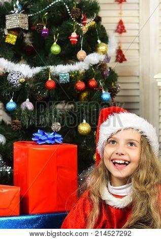 Christmas Happy Child With Present Box.