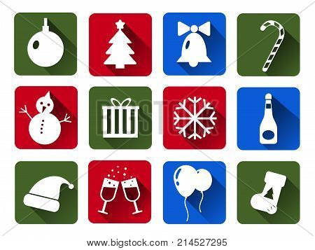 Set of Christmas  icons white. Flat Cristmas icons with long shadows .  Illustration. Christmas and New Year concept.