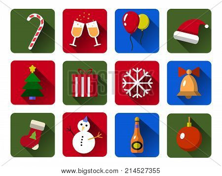 Set of Christmas  icons. Flat Cristmas icons with long shadows .  Illustration. Christmas and New Year concept.