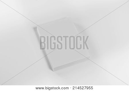 Mockup of magazine, poster, A4 brochure, catalog or flyer isolated on white background. Blank page top view for use in design, mockups and simulations.