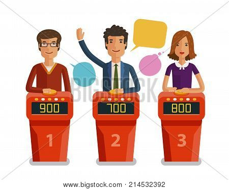 Quiz show, game concept. Players answering questions standing at stand with buttons
