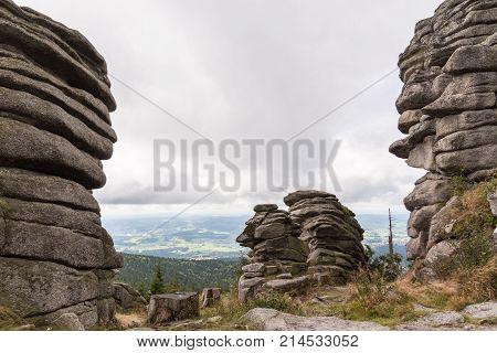 Panoramic view on the hiking destination Dreisesselberg - stony Bavarian Forest