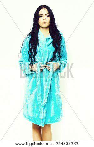 Sexy Girl Posing In Turquoise Velour Bathrobe
