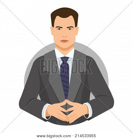 Vector icon of serious young businessman wearing formalwear with joined fingers. Confidence, uncertainty, doubt. People concept. Can be used for information boards, posters, brochure