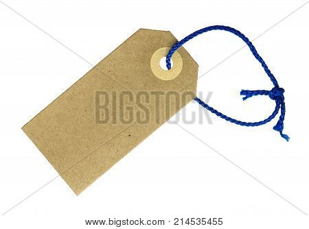 Isolated Blank Card Gift Or Price Tag With String