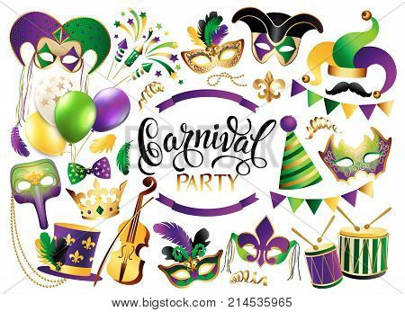 Mardi Gras French traditional symbols collection - carnival masks party decorations. Vector illustration isolated.