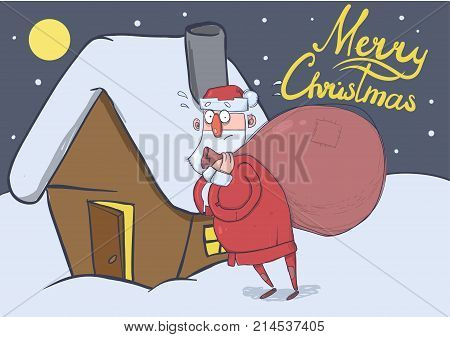Christmas card of funny Santa Claus with big bag standing next to a house in the snowy night. Santa looks lost and confused. Horizontal vector illustration. Cartoon character. Lettering. Copy space.