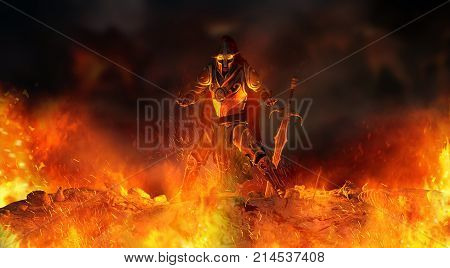 3d render of a warrior knight surrounded in flames