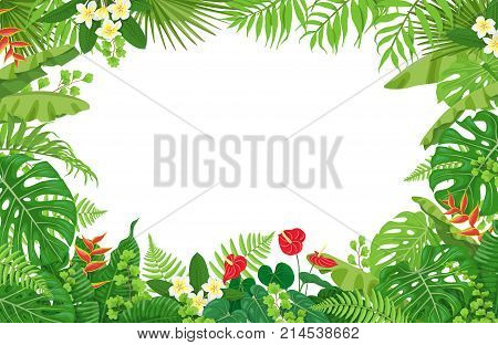 Colorful leaves and flowers of tropical plants background. Horizontal floral frame with space for text. Tropic rainforest foliage border. Vector flat illustration.