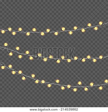 Garlands Christmas decorations lights effects. Isolated vector design elements. Glowing lights for Xmas Holiday greeting card design. Christmas decoration realistic luminous garland.Vector illustration. Eps 10.