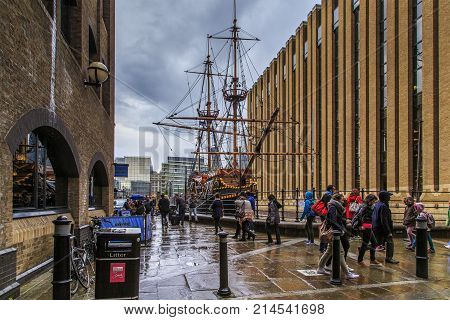 LONDON, GREAT BRITAIN - MAY 13, 2014: This is an exact copy of the Golden Hind galleon