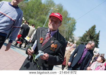 Yoshkar-Ola Russia - May 9 2016 Veteran of the Second World War during the Victory Day celebration in the central park of Yoshkar-Ola Russia