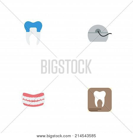 Flat Icons Dental Crown, Artificial Teeth, Halitosis And Other Vector Elements