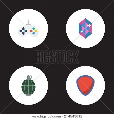 Flat Icons Game, Dynamite, Gem And Other Vector Elements