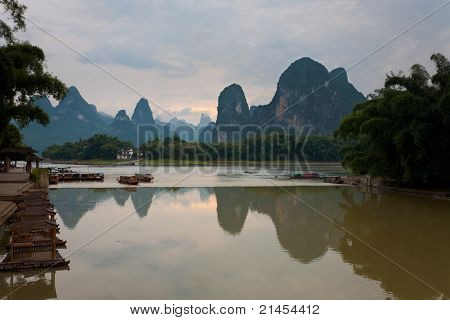 Tourist Boats Karst Reflection