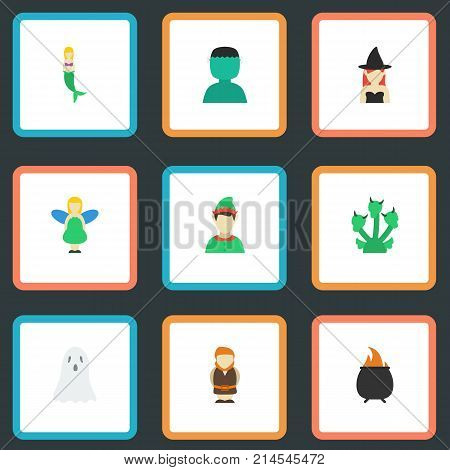 Flat Icons Hell, Halloween, Character And Other Vector Elements