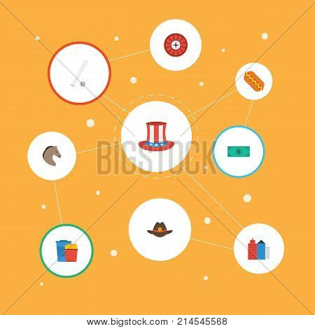 Flat Icons Sausage, Greenback, Horse And Other Vector Elements