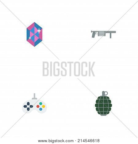 Set Of  Flat Icons Symbols Also Includes Gem, Handgun, Bombshell Objects.  Flat Icons Dynamite, Game, Handgun Vector Elements.