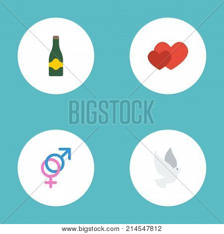Flat Icons Love, Sexuality Symbol, Fizz And Other Vector Elements