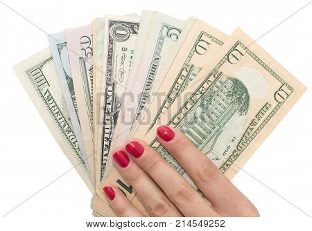 dollars in hand with red manicure . Photos in the studio