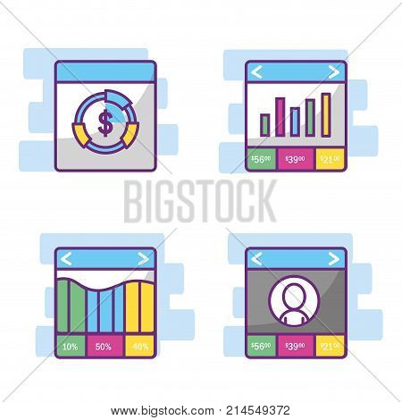 Icon set of fintech industry technology and money theme Vector illustration