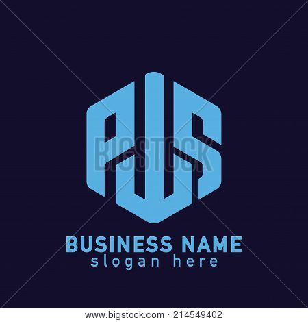 P W S Letter Hexagonal Abstract Logo