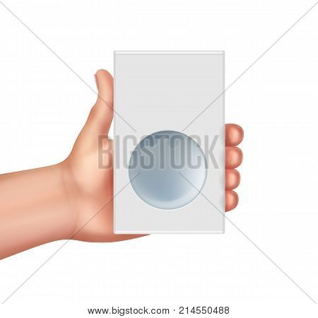 Vector illustration of hand hold cardboard box isolated on white bacground