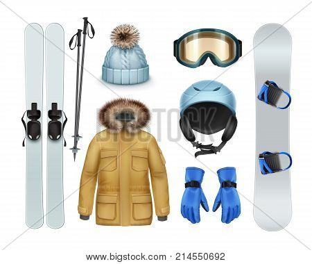 Winter sports stuff and apparel: brown coat with fur hood, pants, gloves, knitted cap, goggles, helmet, ski, sticks, snowboard front view isolated on white background