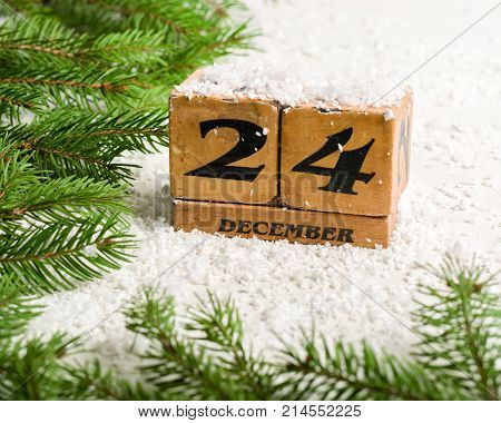 Eve, Christmas. December 24th. Winter time. Light blank for a postcard or congratulations