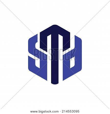 S M D Letter Hexagonal Logo vector