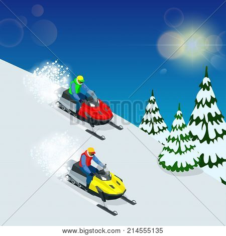Man driving sports snowmobile. man and fast action snowmobile jumping. Isometric vector illustration.