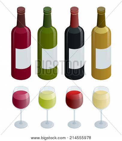 Set of white, rose, and red wine bottles and glas. Isometric vector illustration isolated on white background.