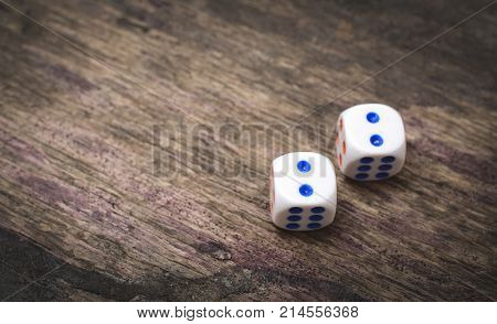 two game dice number double two on the table