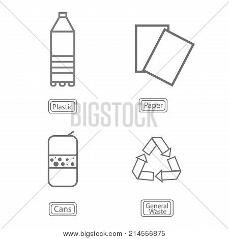 Flat Vector Illustration Sign Icons For Garbage Cans And Garbage Separation By The Method Of Process
