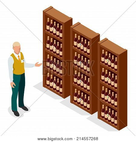 Isometric Portrait of adult male seller in uniform showing bottle of wine to a customer in wine shop. Vector illustration isolated on white background.