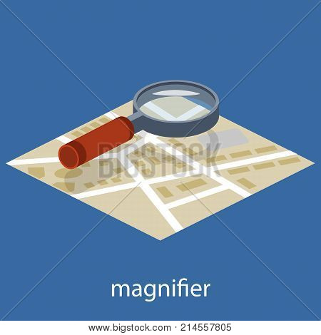 Isometric 3D Vector Illustration Of Magnifying Glass. Magnifier To Increase The Image. Approximation