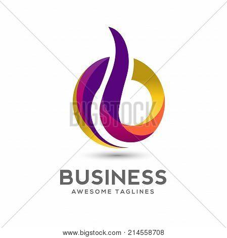 Letter B Colorful Logo Design Vector. Creative letter B Rainbow Gradient logo concept Illustration.