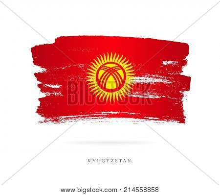Flag of Kyrgyzstan. Vector illustration on white background. Beautiful brush strokes. Abstract concept. Elements for design.
