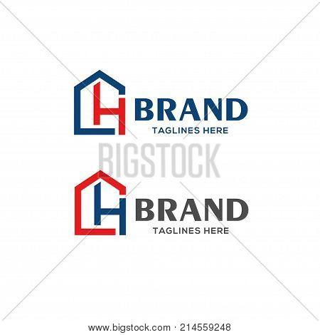 letter CH real estate logo, Real estate logo concept illustration, letter CH as house logo vector
