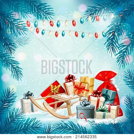 Christmas holiday background with presents on a sleigh and garland. Vector illustration