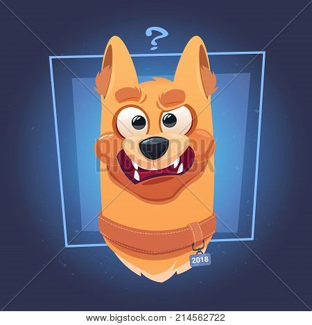 Confused Dog Face With Question Mark On Blue Background Flat Vector Illustration