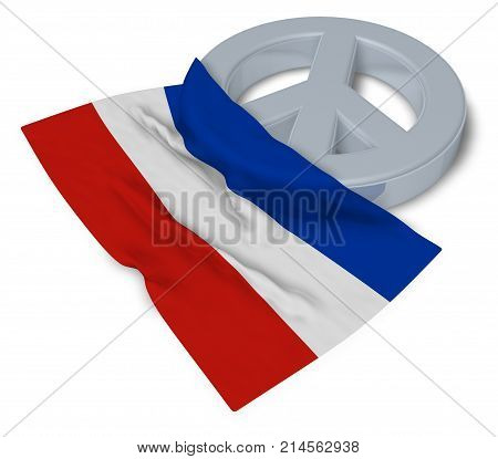 peace symbol and flag of schleswig-holstein - 3d rendering