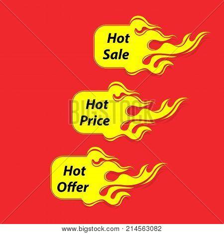 Hot Sale banner.Hot Price banner.Hot Offer banner.Vector illustration.